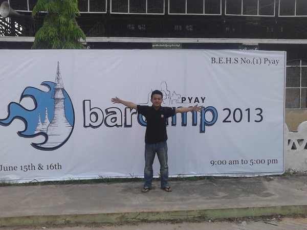 At the opening board of Barcamp Pyay